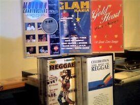 1960s-90s REGGAE, MOTOWN, GLAM, ETC, TOP 40 HITS 1 & 2 ALBUM COMPILATION PRERECORDED CASSETTE TAPES.