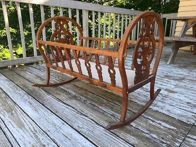 Vintage Antique Maple Wood Handmade Rocking Baby Cradle