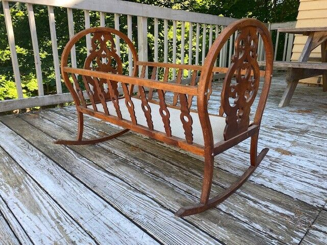 Vintage Antique Maple Wood Handmade Rocking Baby Cradle