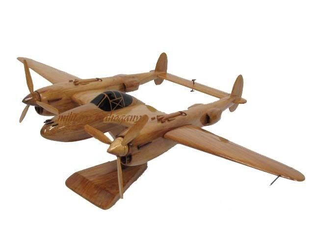 P-38 Lightning Interceptor Fighter WWII Wooden Mahogany Wood Model Airplane New
