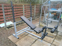 PRICED TO SELL. Olympic bench, stands, preacher curl, leg ext, BODY SOLID
