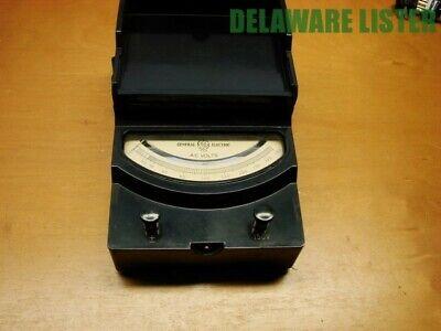 Vtg. Ge General Elecric Ac Volts Test Meter 0-150 Leather Handle Bakelite Case