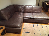 BROWN REAL LEATHER CORNER SOFA (Used, in very good condition)