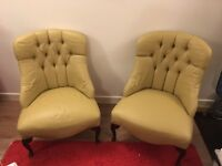 2 lovely cream button back armchairs