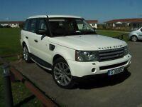 White Range Rover Sport V8, twin turbo diesel, 2008, RHD on Gibraltar Plates, most extras