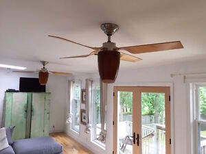 2 Ceiling Fans with Lights and remotes For Sale