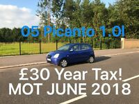 £675 2005 Kia Picanto 1.0l* like Picanto Polo 107 c1 aygo Clio Punto Micra Yaris , 90k miles
