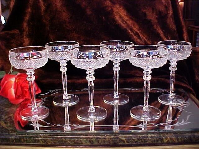 6 GORGEOUS Crystal Wine Champagne Glasses DIAMOND Point Pattern & DOUBLE RING!