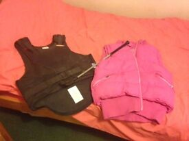 Back protector, crop and Joules body warmer for sale