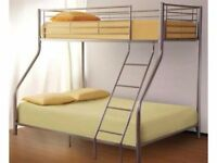 🔴🔵**SAME DAY DELIVERY🔴🔵Paris Triple Metal Bunk Bed-With Mattress Options/Same/Next Day Delivery