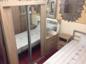 New Sonoma Oak effect sliding door wardrobe with mirror & locking drawer not sliderobe