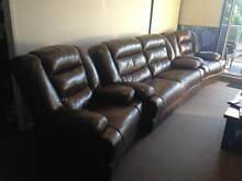 Brown leather couch including 2 recliners Turrella Rockdale Area Preview