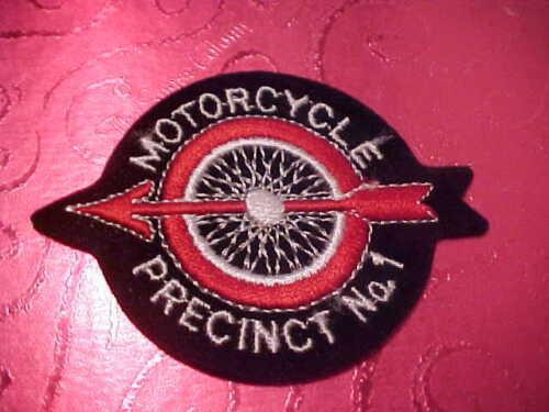 MOTORCYCLE PRECINCT NO. 1 POLICE PATCH SHOULDER SIZE UNUSED FELT 3 1/2 X 2 3/4 I