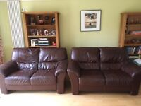 Two, 2 seater brown leather sofas for sale