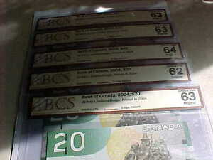 Five Choice UNC 2004 RADAR $20 With Same Prefix EYK Rare!! London Ontario image 2