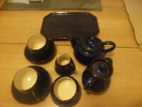 Handmade pottery / ceramic tea set for two, finished in dark blue glaze. RH10 Nr. Gatwick.