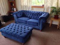 "Blue velvet 2 seater sofa, Debenhams' ""Chesterfield"" style, + matching footstool, good condition"