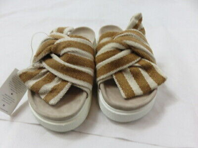 INUIKII Women's Slipper Knot Striped Beige EUC Size 39 (US 9)