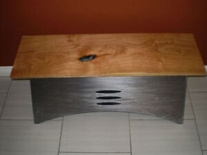 Beautiful Cherry and steel hall or entranceway bench