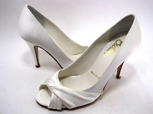 BRIDAL BY BUTTER WOMEN'S CHARISMA PEEP-TOE HIGH-HEEL PUMP WHITE SATIN SIZE 6 MED