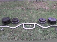 Dumbbell barbell Weights and Bars 39.6 lb's 18 kg approx