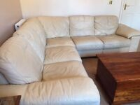 5 Seater cream leather corner sofa for sale