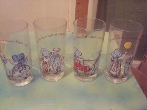 VTG Holly Hobbie Set (4) Drinking Glass Tumblers American Greetings 12 oz