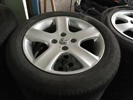 SET OF 4 PEUGEOT 307 WHEELS AND TYRES 16 INCH