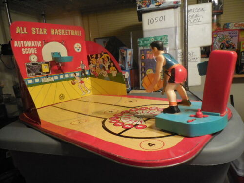 Vintage 1950s Marx Allstar Marx-O-Matic Tin Basketball Game Arcade Game Room Toy