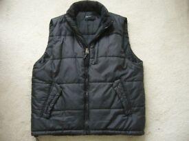 "mans black padded winter sleevless body warmer jacket gilet 42"" L - BH5"