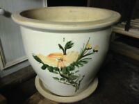 Giant Plant Pot and Tray Hand Painted and Glazed