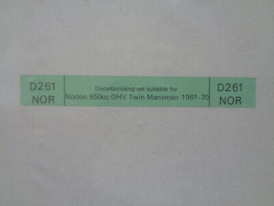 Variations for all Models FULL DECAL SETS 1949-70 Norton Dominator