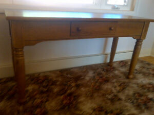 Wood Table With Drawer