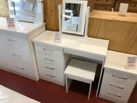 New high gloss white 4 drawer dressing table with stool & mirror £99 Take it home today