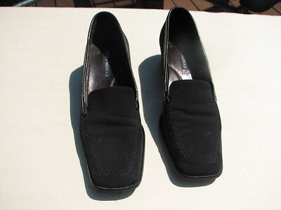 SESTO MEUCCI LADIES BLACK STRETCH FABRIC LEATHER TRIM LOAFERS SIZE 7 M ()