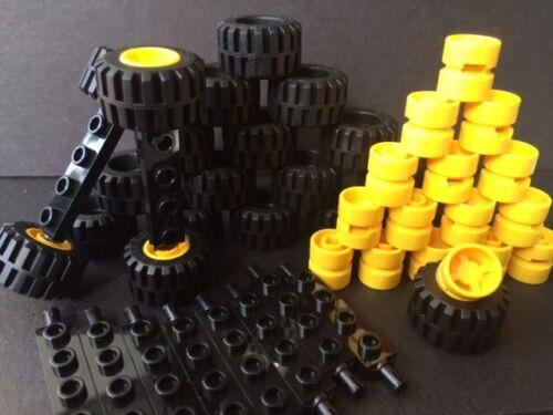 Lego Car Parts 50Pcs: 20 BLACK Tires 20 Yellow Rims 10 Black