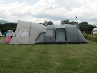 Large 6 person Vango tent with extra front canopy, footprint and carpet