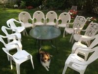 $10 per  patio chair [12  chairs X$10=$120] and  a free table