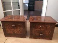 Bedside Cabinets (x2) Walnut-effect Laminate