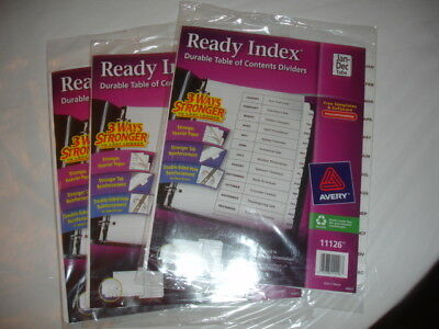 3 Avery Ready Index 12-tab Monthly Dividers With Table Of Contents Page - 11126
