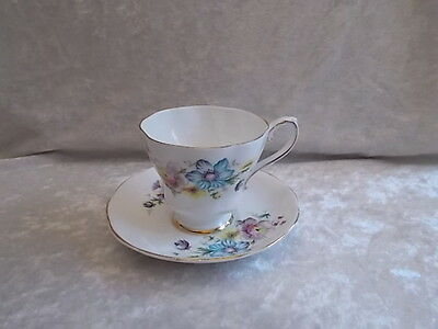 Royal Grafton Fine Bone China Blue Floral Tea Cup and Saucer