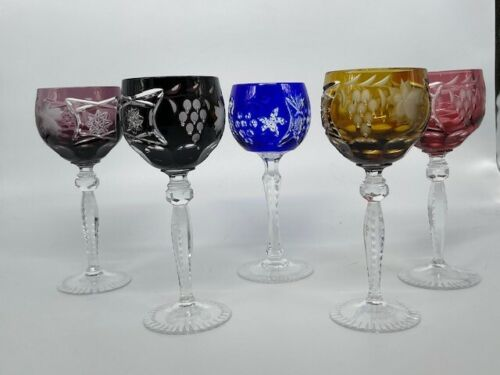 VAL ST LAMBERT Set Of 5 COLOR TO CLEAR  WINE  Goblets Vintage
