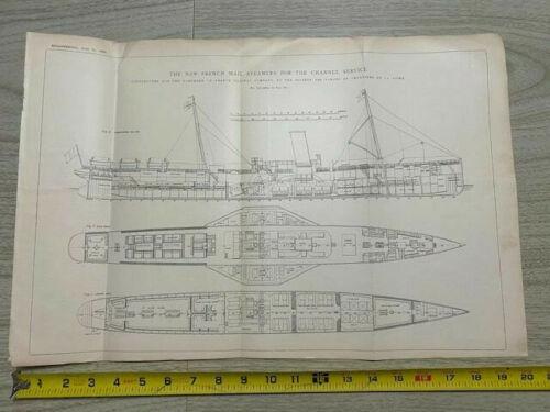 "Vintage Ships Plan circa 1898 SideWheel Channel Steamer 13""x20"""