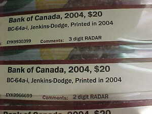 Five Choice UNC 2004 RADAR $20 With Same Prefix EYK Rare!! London Ontario image 6