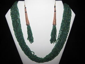 Brand New Green Beaded Necklace and Earrings Set!