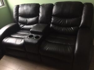 Used Double Reclining Leather Theatre Seats - Great for Gaming!