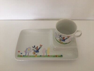 Rare Disney Porcelain Donald Duck Snack Dish And Cup Set Collectible -