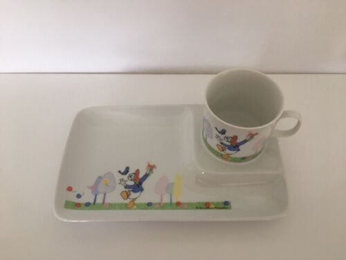Rare Disney Porcelain Donald Duck Snack Dish And Cup Set Collectible Children's