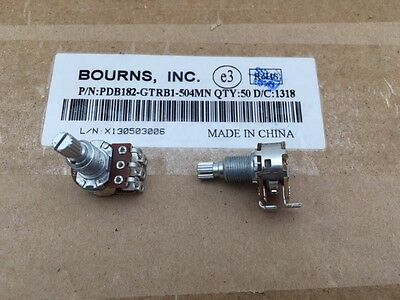 5 Pcs Pdb182-gtrb1-504mn Bourns 500k Ohm 2-gang 1-turn Guitar Potentiometer