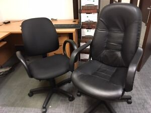 Office Chairs - Black Desk Chair + Lounge Chair